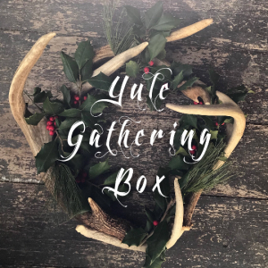 yule gathering box yuletide christmas winter solstice herbal medicine pine cedar brandy hand dipped candles mulling spices glogg