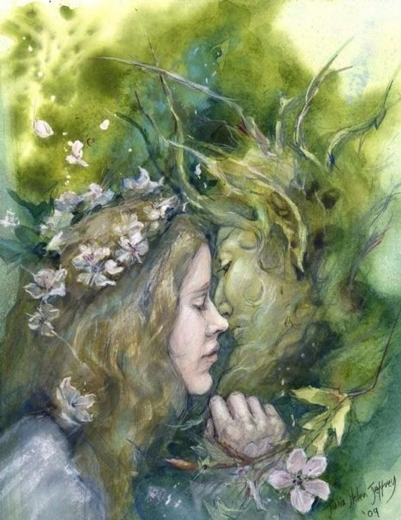 Julia Jeffrey Stonemaiden Art Beltane Beltaine Celtic mythology green man hawthorn etsy artist pagan
